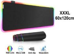Muismat Gaming XXL-XXXL RGB LED 120x60cm bureau onderlegger | RGB Gaming Muismat | Mousepad | Pro RGB LED Muismat XXL | Anti-slip | Desktop Mat | LED | Computer Mat, zwart , merk Beactiff
