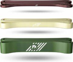 Groene FX FFEXS Pull up band weerstandsbanden fitness set van 3 - Weerstandsband elastiek heavy medium and light - Resistance bands power workout gear gewichtheffen