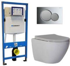 Douche Concurrent Geberit UP 320 Toiletsets - Inbouw WC Hangtoilet Wandcloset - Shorty Flatline Sigma-01 Chroom/Mat Chroom