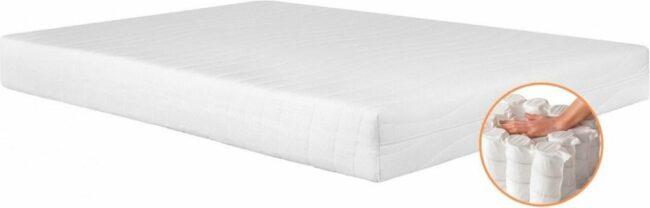 Afbeelding van Witte Bed4less Matras Pocketvering 7-zones 80x190 dikte c.a. 20cm