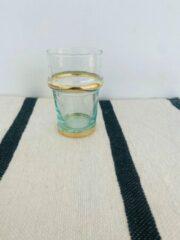 Transparante Moroccan Garden Traditioneel Beldi Glas | Set van 6 | Goud | Marokkaans Glas Design | M