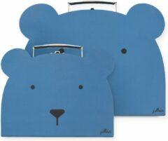 Blauwe Jollein speelkoffertje Animal club steel blue - set van 2