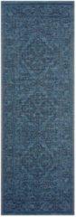 Azuurblauwe Bougari Binnen & buiten vloerkleed vintage Tyros - azuur/antraciet 70x200 cm