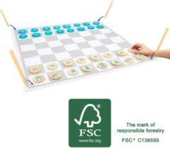 Small Foot schaak- en damset junior 85 cm hout blauw/grijs/wit