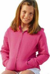 Fruit of the Loom Fuchsia roze katoenmix vest met capuchon voor meisjes 116 (5-6 jaar)