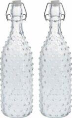 Zeller 2x Glazen flessen transparant stippen met beugeldop 1000 ml - Keukenbenodigdheden - Woondecoratie - Tafel dekken - Koude dranken serveren/bewaren - Olie/azijn flessen - Decoratie flessen