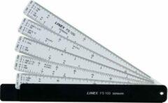 Transparante Linex Liniaal Waaier , 5 Linialen in 1 Set verpakt in een Handige Zipperbag