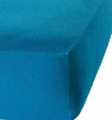 Princessmatrassen Het Ultieme Zachte Hoeslaken- Jersey -Stretch -100% Katoen-Lits-Jumeaux- 200x200+40cm- Blauw - Voor Boxspring-Waterbed