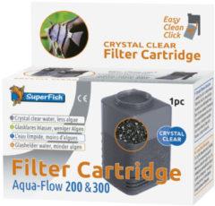 Superfish Aquaflow 200/300 Filter Crystal Clear Cartridge - Filtermateriaal - 11.5x11x6.5 cm Zwart