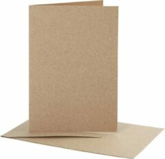 Naturelkleurige PacklinQ Kaarten en enveloppen. naturel. afmeting kaart 10.5x15 cm. afmeting envelop 11.5x16.5 cm. 10 set/ 1 doos