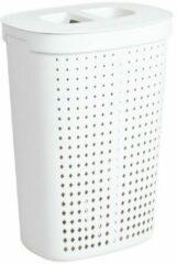 Xenos Wasmand ovaal - 2 vakken - wit - 45,8x33,6x63,7 cm