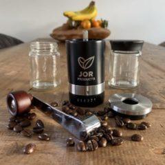 Zilveren JOR Products Hand Koffiemolen - Handmatige - Keramische Koffiemaler - Koffiebonen - Manual Coffee Grinder