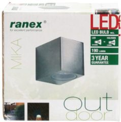 Grijze Ranex LED Wandlamp voor Buiten 3W - Geborsteld Aluminium - GU10 Fitting