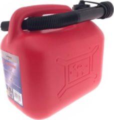 Jerrycan rood met vloeistofindicator voor brandstof - 5 liter - inclusief schenktuit - benzine / diesel - afmeting ca. 24 x 18 cm