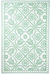 Tapijt - buitentapijt - Esschert Design Buitenkleed Bladeren 180x121 cm groen en wit OC37