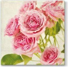 PAW Pink Roses papieren servetten