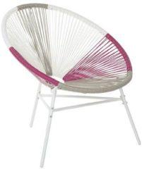 Beliani Rotan stoel wit/beige/roze kunststof ACAPULCO