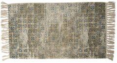 Clayre & Eef Vloerkleed KT080.038 70*120 cm - Grijs, Groen Katoen Tapijt Wandkleed Wandtapijt