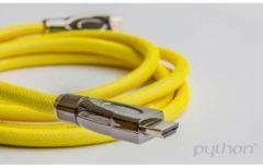 PYTHON Anschlusskabel High-Speed-HDMI mit Ethernet 4K2K / UHD - AKTIV (Redmere Chipsatz) - OFC - Nylongeflecht gelb - 30m - PYTHON Series GC-M0035