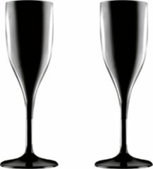 Santex Set van 2x stuks champagneglazen/prosecco flutes zwart 150 ml onbreekbaar herbruikbaar kunststof - Champagne serveren - Champagneflutes - Champagneglazen