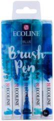 Blauwe Koninklijke Talens B.V Talens Ecoline 5 brush pens ''Blue''