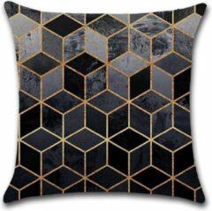 Gouden By Javy Kussenhoes Square - Grijs & Goud - Kussenhoes - 45x45 cm - Sierkussen - Polyester