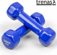 ESam® - Trenas - Aerobic Dumbbell set 2 kg - (2x 1 kg) - Vuist dumbbells - Aerobic Dumbbells - Korte Halterset - gietijzer met kunststof coating - Blauw
