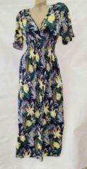Merkloos / Sans marque Dames lange jurk met bloemenprint one size 36-44 donkerblauw