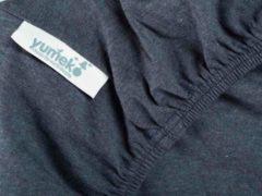 Blauwe Yumeko hoeslaken - 70x145x15 - 100% biologisch en fairtrade katoen, jersey katoen (gebreid) - Indigo blue - bio, eco & fairtrade