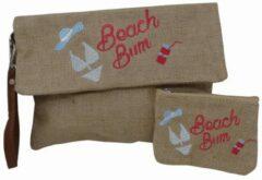 Jessidress Ibiza Style Envelope tas Handtasje met borduursels en Portemonee Handtas van Jutte - Roze