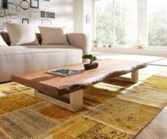 DeLife Wohnzimmertisch Live-Edge Akazie Braun 165x60 cm Baumkante Kufenfuß Couchtisch