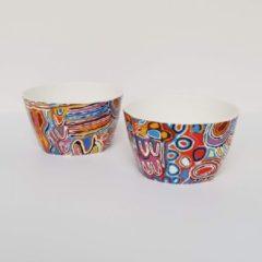 Paarse Alperstein Designs Designkommen set van 2 - Judy Napangardi Watson - Aboriginal collectie