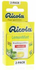 Ricola Lemon mint suikervrij 2 x 50 gram 2x50 Gram