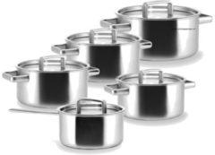 Zilveren Habonne King pannenset 5 delig + Gratis Gero soeplepel