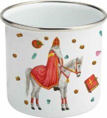 Rode Mies To Go Emaille mok met naam - Sinterklaas - Gepersonaliseerde drinkbeker - kraamcadeau - Dieren in aquarel - Geschilderd door Mies