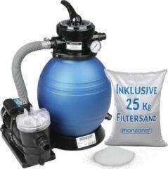 Monzana Zandfiltersysteem 9.960 l/uur Voorfilter 25 l tank + 25 kg Filterglas - Zwembad