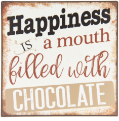 Clayre & Eef | Tekstbord 25*1*25 cm | Multi | IJzer | vierkant | happines ia a mouth filled with chocolate | 6Y3281