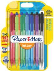 Papermate InkJoy 100 RT Multi kleuren Clip-on retractable ballpoint pen Medium 20 stuk(s)
