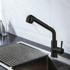 Merkloos / Sans marque Productgigant - Zwarte Keukenkraan met Uittrekbare Sproeikop - Mengkraan Mat Zwart