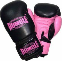 Rumble Ready 2.0 Leer (kick)bokshandschoen Zwart-Roze 10 Oz
