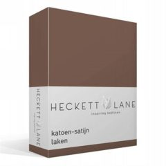 Heckett & Lane katoen-satijn laken - 100% katoen-satijn - Lits-jumeaux (270x290 cm) - Taupe, Taupe Grey