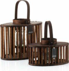 Bruine Mandee.nl Stijlvolle Houten Lantaarns CATALANA 2-delig
