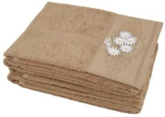 CLASS HOME COLLECTION Handtuch mit 3D-Blumen taupe, 50 x 100 cm, 4er Set
