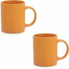 Merkloos / Sans marque 2x Drinkbeker/mok oranje 370 ml - Keramiek - Oranje mokken/bekers voor onbijt en lunch