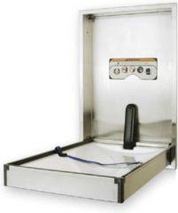Zilveren HygieneShopBasics Wandbabyverschoontafel van hoogwaardig Nirosta-staal - Verticaal inbouw