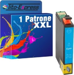 Blauwe Tito-Express PlatinumSerie PlatinumSerie® 1 Cartridge XXL. (Cyan) Compatible voor Epson TE1632 Epson Workforce WF-2010 W / WF-2510WF / WF-2520 NF / WF-2530 WF / WF-2540 WF / WF-2630 WF /WF-2650 DWF / WF-2660 / WF-2660 DWF