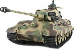 Heng Long RC tank Kingtiger met Henschel koepel V6.0 2.4GHZ IR/BB met rook en geluid en luxe houten kist