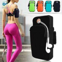 Zwarte Deago mobiele telefoon Armband tas met pasjes ruimte voor iPhone 12 - 11 Pro, X, Xs Max, XR, 8, 7, 6, Samsung met verstelbare elastische klittenband en oordopjes voor hardlopen, trainen, wandelen, fietsen