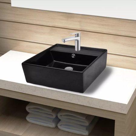 Immagine di Nero VidaXL Lavandino per bagno in Ceramica nera quadrato con Foro di trabocco