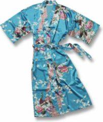 TA-HWA Kimono met Pauw Motief Turquoise Dames Nachtmode kimono S